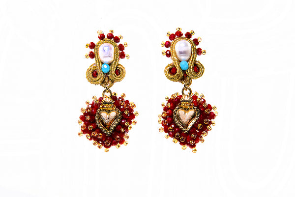 Sagrado Corazon Beaded Dangle Earrings | Evelyn Ariza