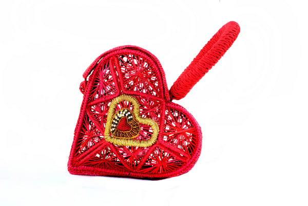 Hand Woven Sagrado Corazon Raffia Purse in Red| Evelyn Ariza