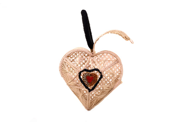 Hand Made Sagrado Corazon Raffia Purse in Natural | Evelyn Ariza