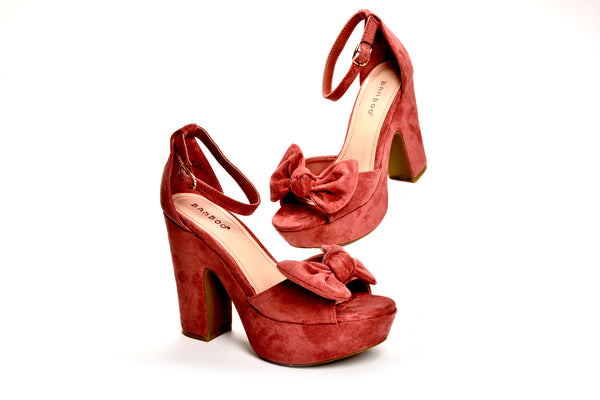 Hepburn Vintage Inspired Pinup Bow Platform Sandals in Rose Vegan Suede