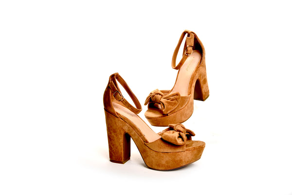 Hepburn Vintage Inspired Pinup Bow Platform Sandals in Tan Vegan Suede