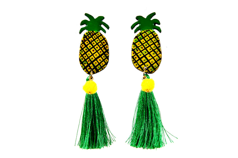 Hand Made Tropical Pineapple Earrings with Green Tassle