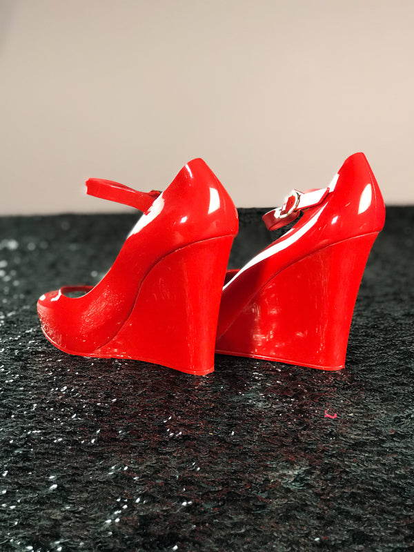 Rosa Vintage Jelly Wedge Heel in Red
