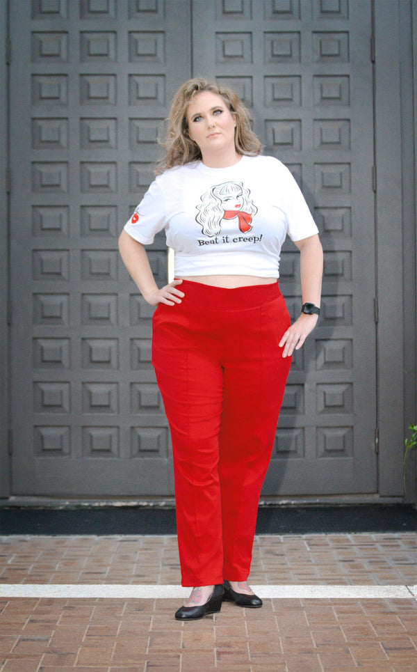 Laura Byrnes California High Waisted Long Trousers in Red Twill