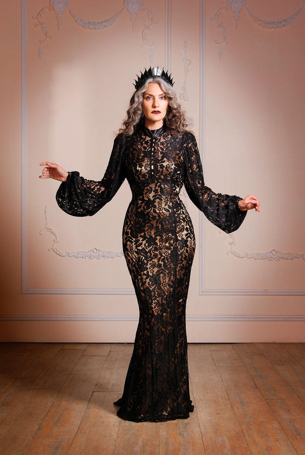 Serafina Lace Maxi Gown in Black | Laura Byrnes Design