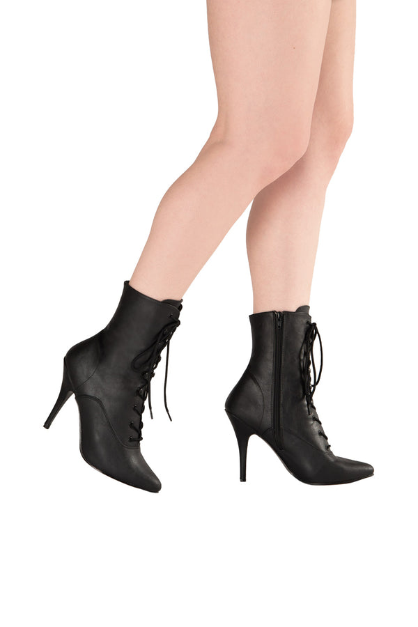 Night Shade Stiletto Lace Up Ankle Boot in Black Matte Vegan Leather