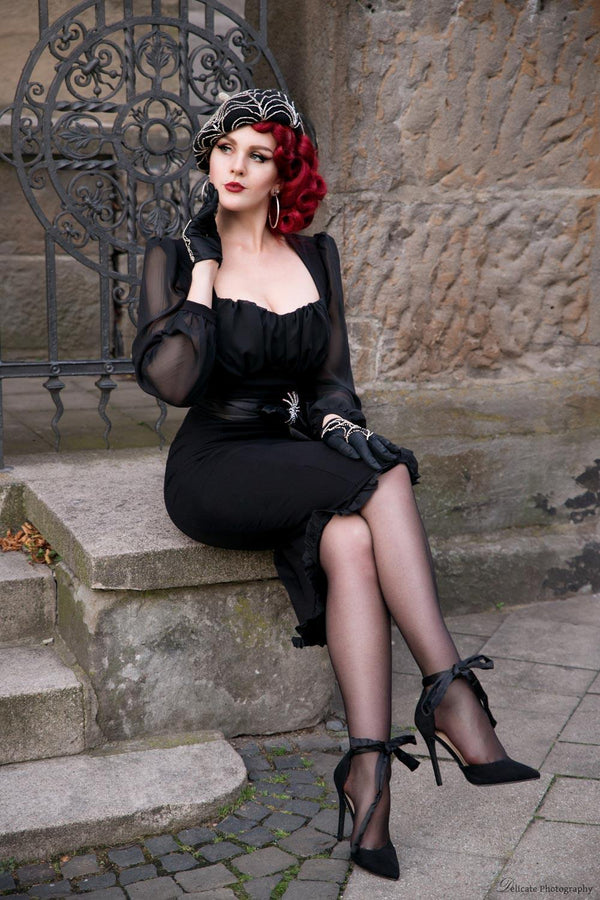 Aziza Dress in Black Ponte by Elvira Mistress of the Dark
