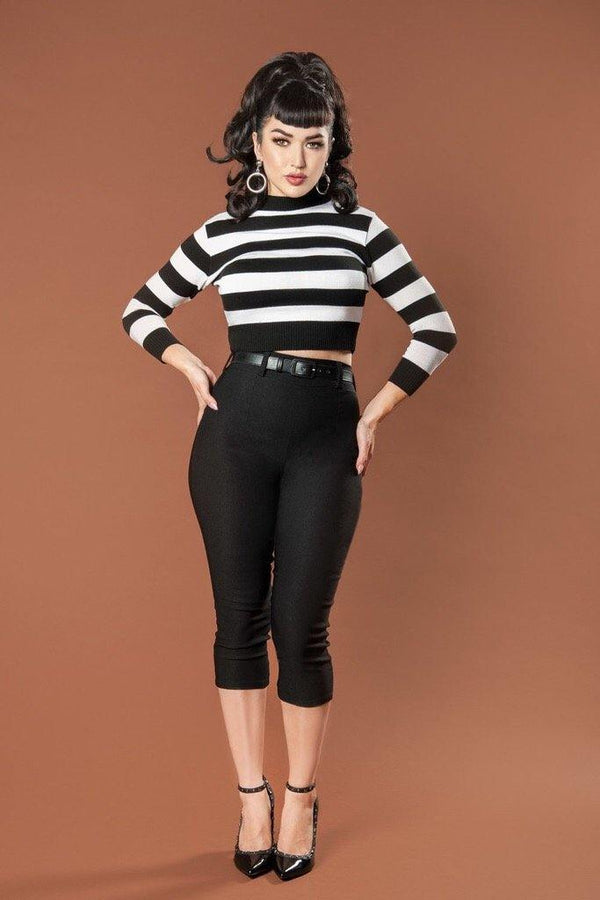 Allison Capri Pants in Black with Heart Pockets By Traci Lords