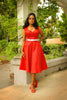 Heidi Dress Red Sateen A-Line Classic Vintage Pinup Couture