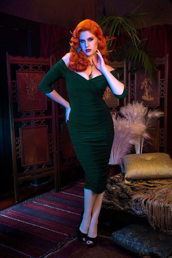 Laura Byrnes California Monica Wiggle Dress in Dark Green