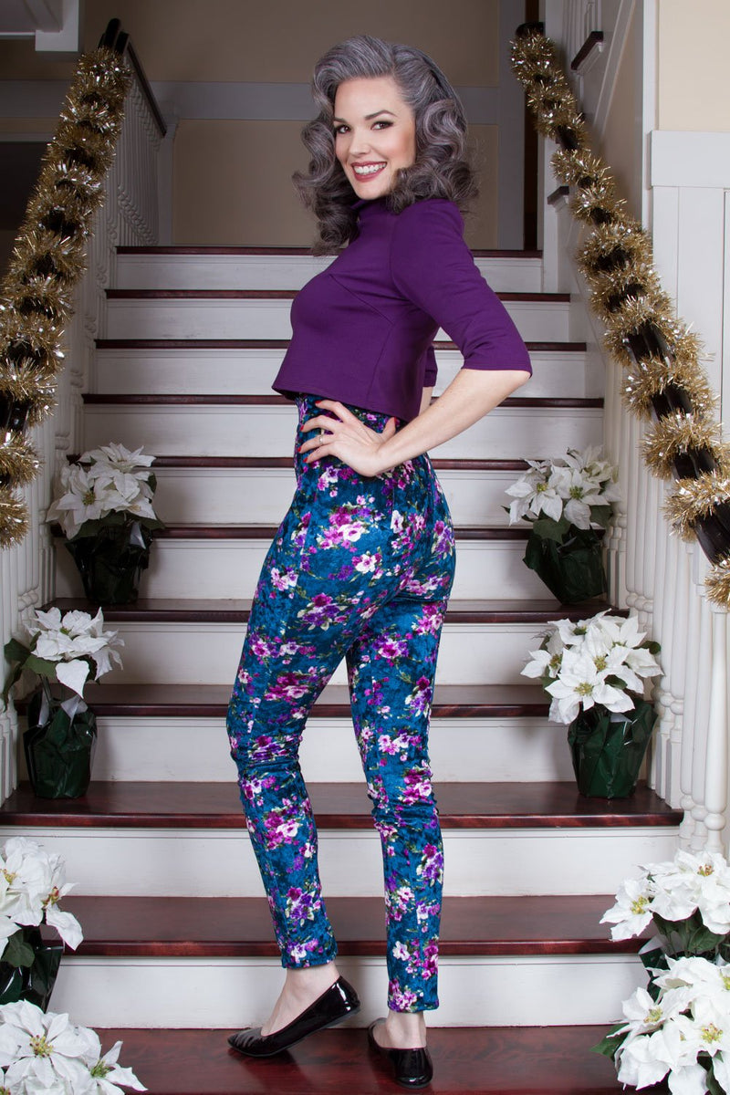 Lola Pant Long Crushed Velvet Leggings in Blue Floral Print by Traci Lords