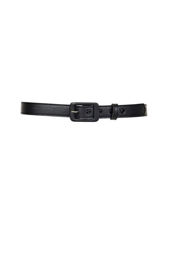 1 Inch Grommet Belt in Black Faux Leather