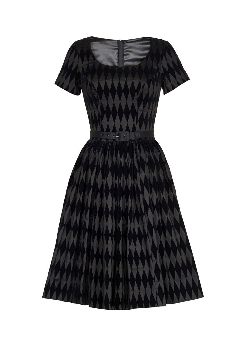Pinup Couture Gena Dress in Black Flocked Harlequin