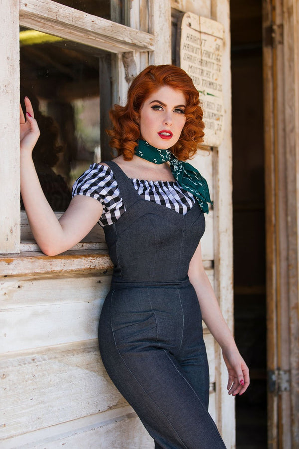 Daphne Overalls in Vintage Style Raw Denim by Laura Byrnes