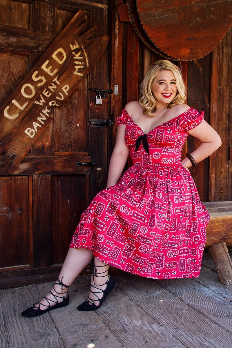 Pinup Couture Natalie Swing Dress in Red Bandana Print