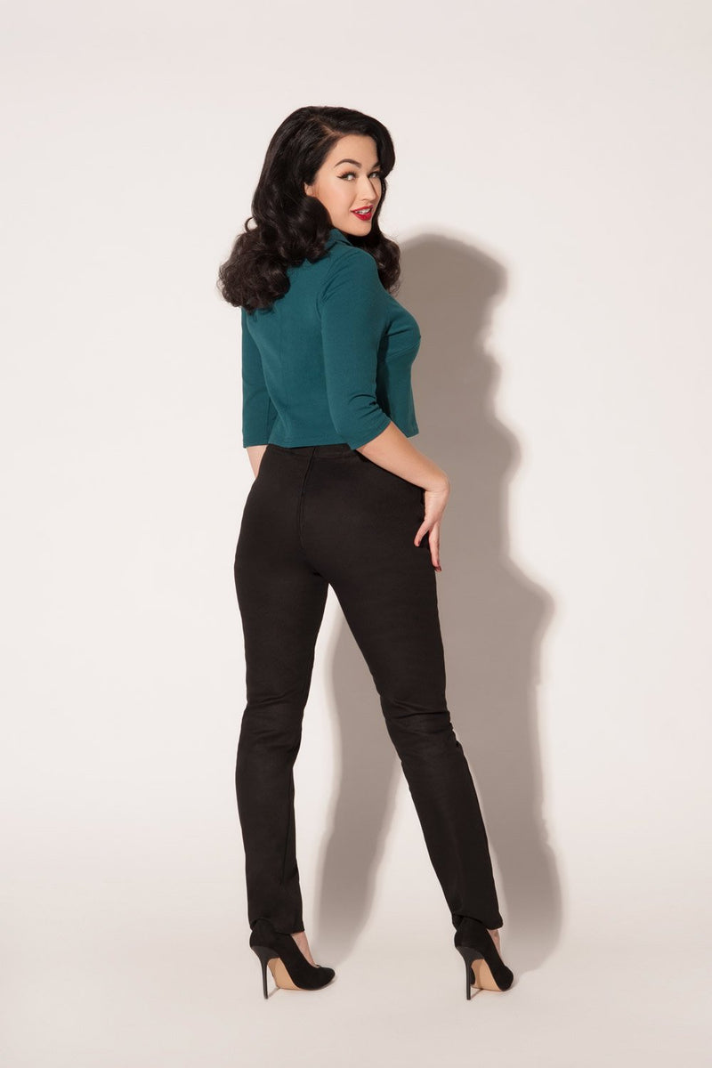 Laura Byrnes California High Waisted Long Trousers in Black Twill