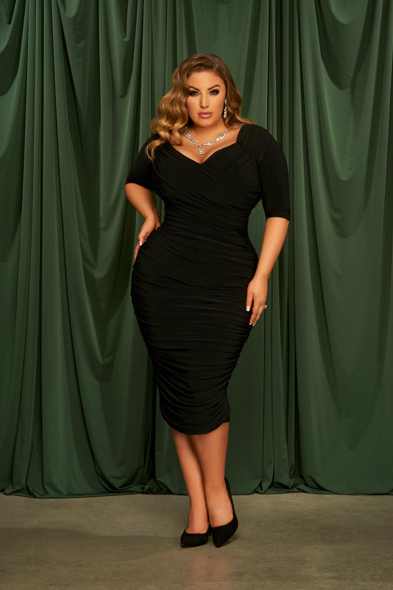 Laura Byrnes California Monica Wiggle Dress in Black Plus Size