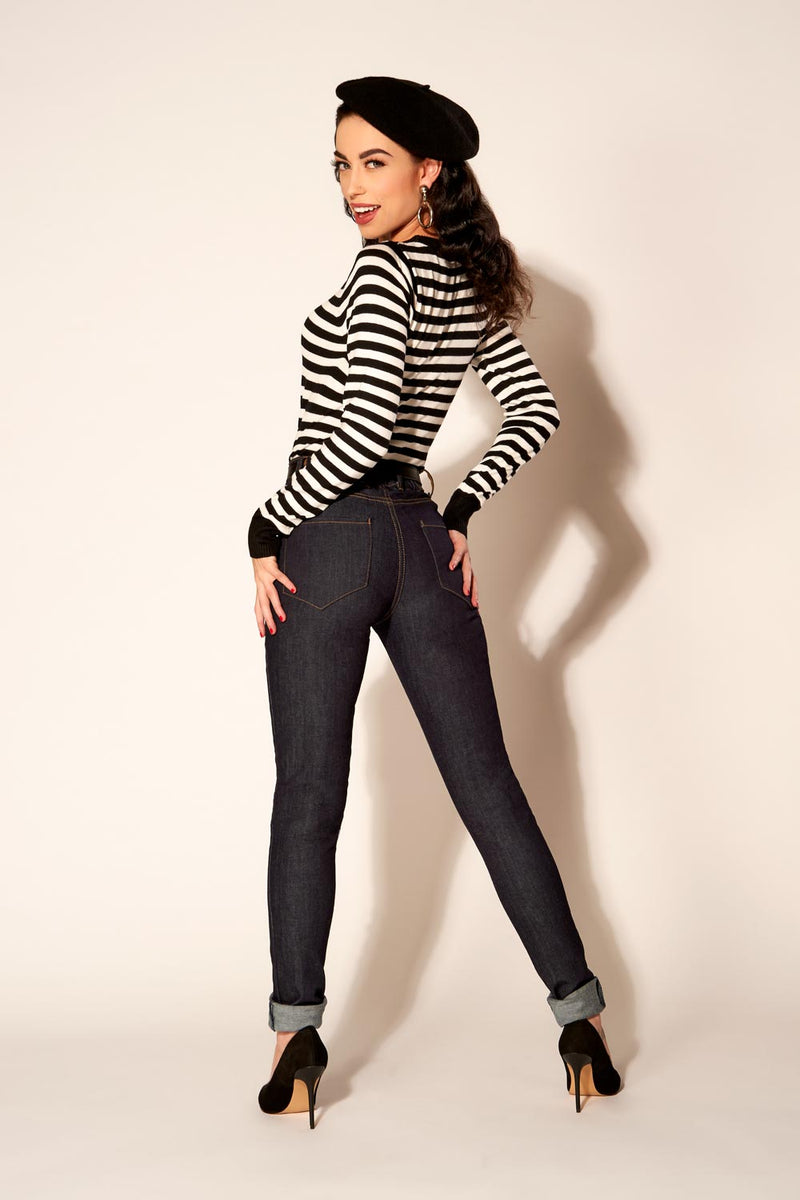 Love Your Body - Premium Stretch Denim Fitted 4-Pocket Jeans by Laura Byrnes