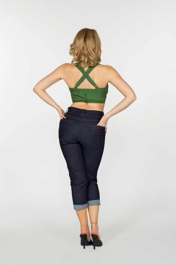 Allison Crop Top  in Green by Traci Lords