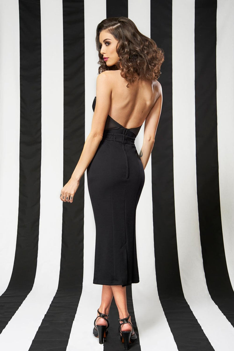 Backless Satin Longline Bra in Black