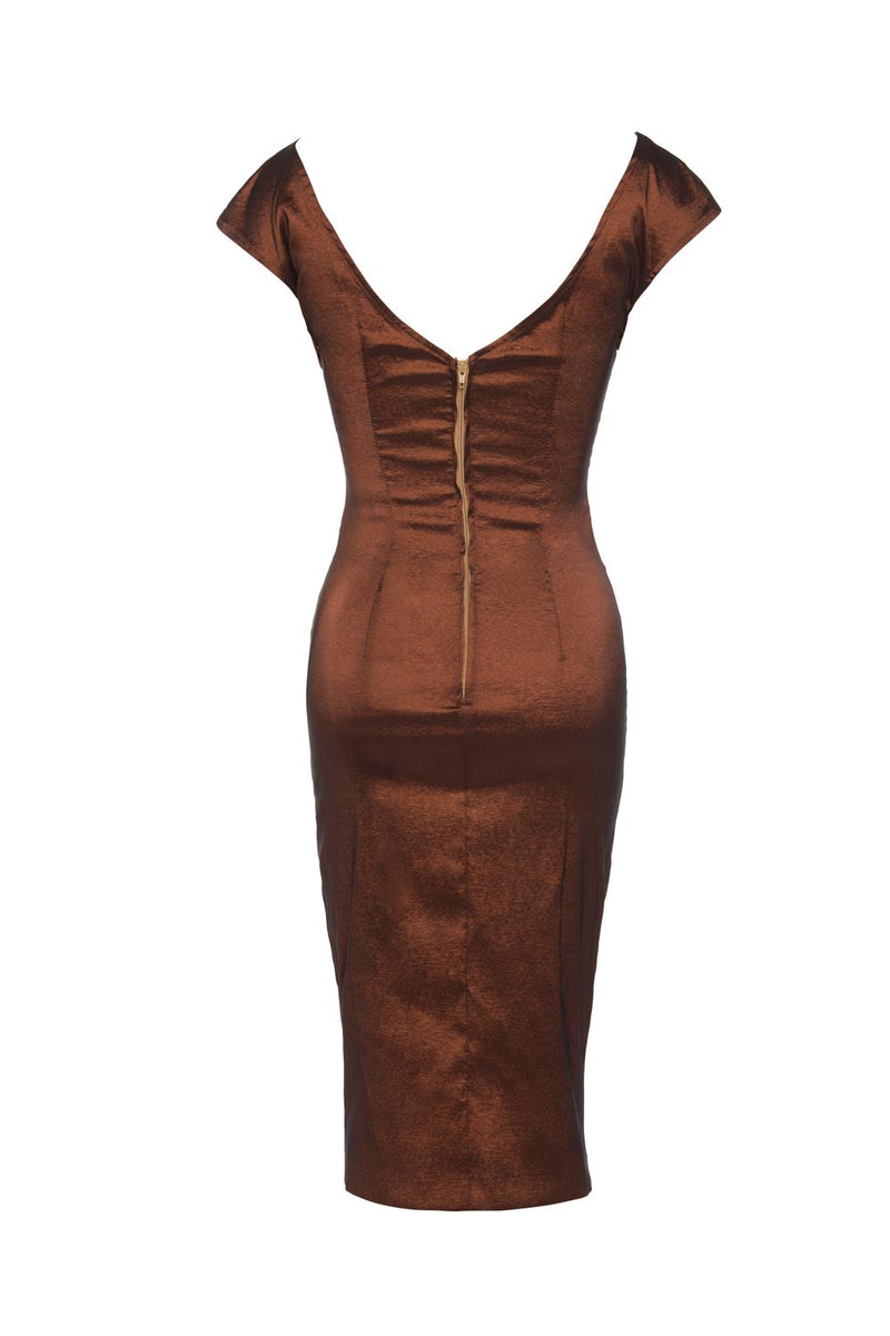 Dixiefried Niagara Dress in Dark Copper Taffeta