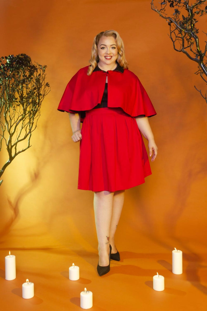 Magically Made for Couture for Every Body Joanne Jumper Skirt with Removable Straps in Red Cotton Sateen