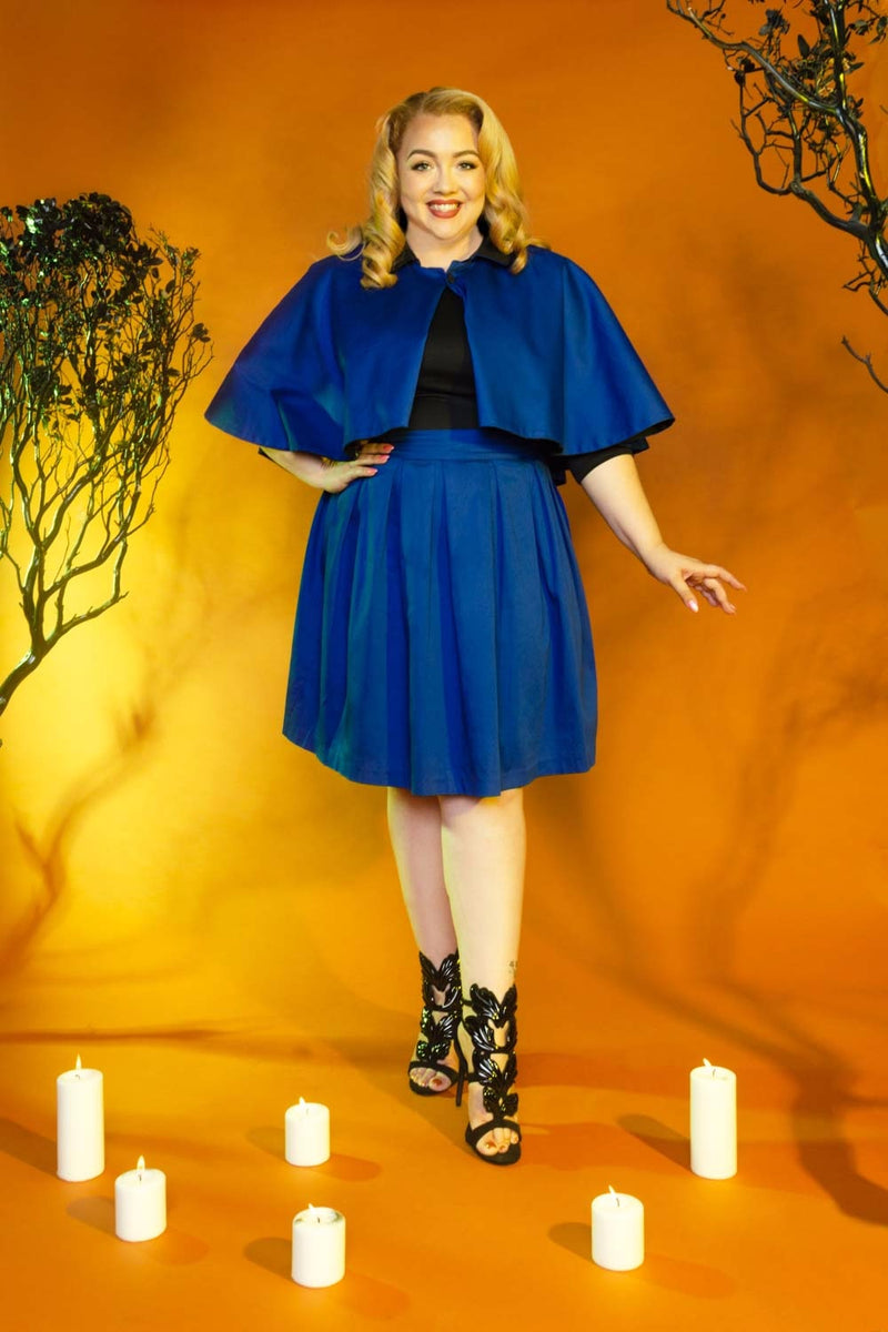 Magically Made for Couture for Every Body Joanne Jumper Skirt with Removable Straps in Blue Cotton Sateen