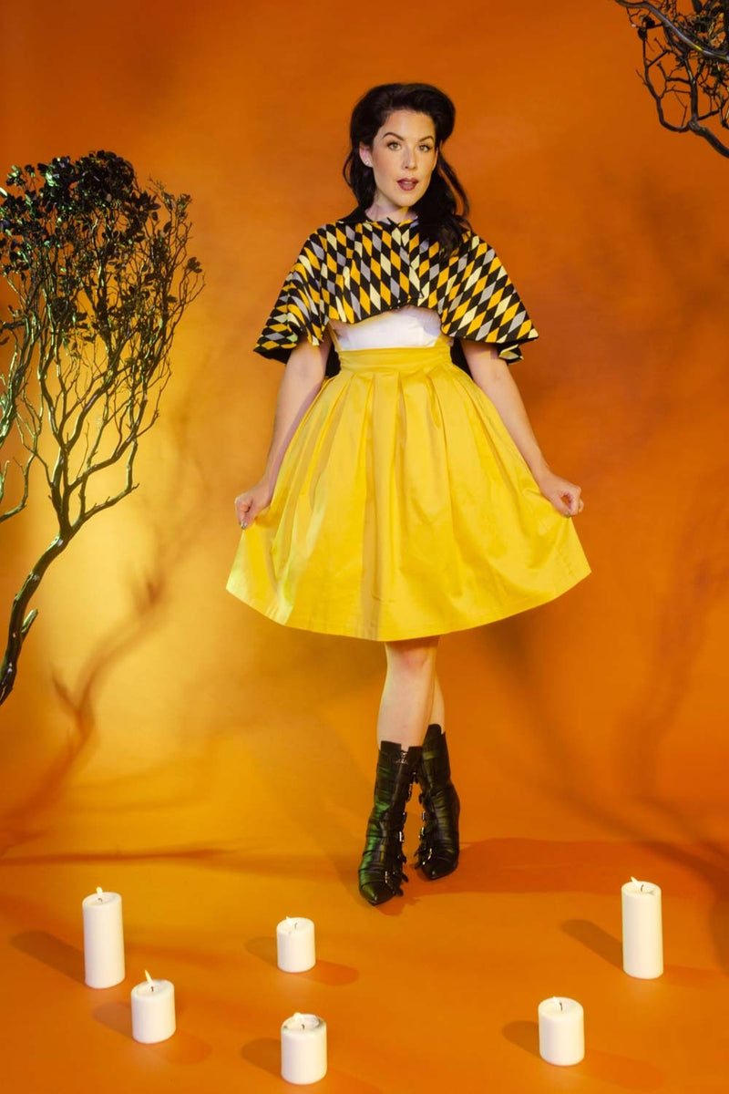 Magically Made for Couture for Every Body Celestina Reversible Capelet in Black and Yellow House Harlequin