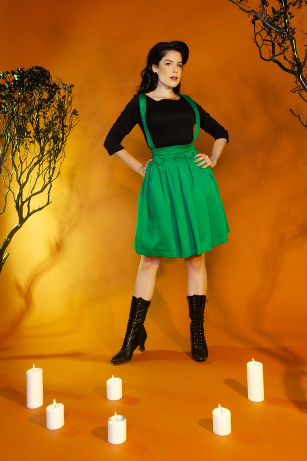 Magically Made for Couture for Every Body Joanne Jumper Skirt with Removable Straps in Green Cotton Sateen