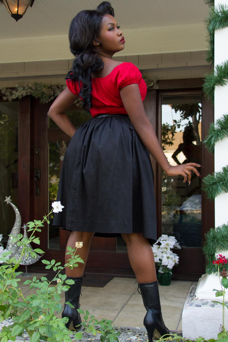 Pinup Couture Petite Bella Skirt in Black Sateen
