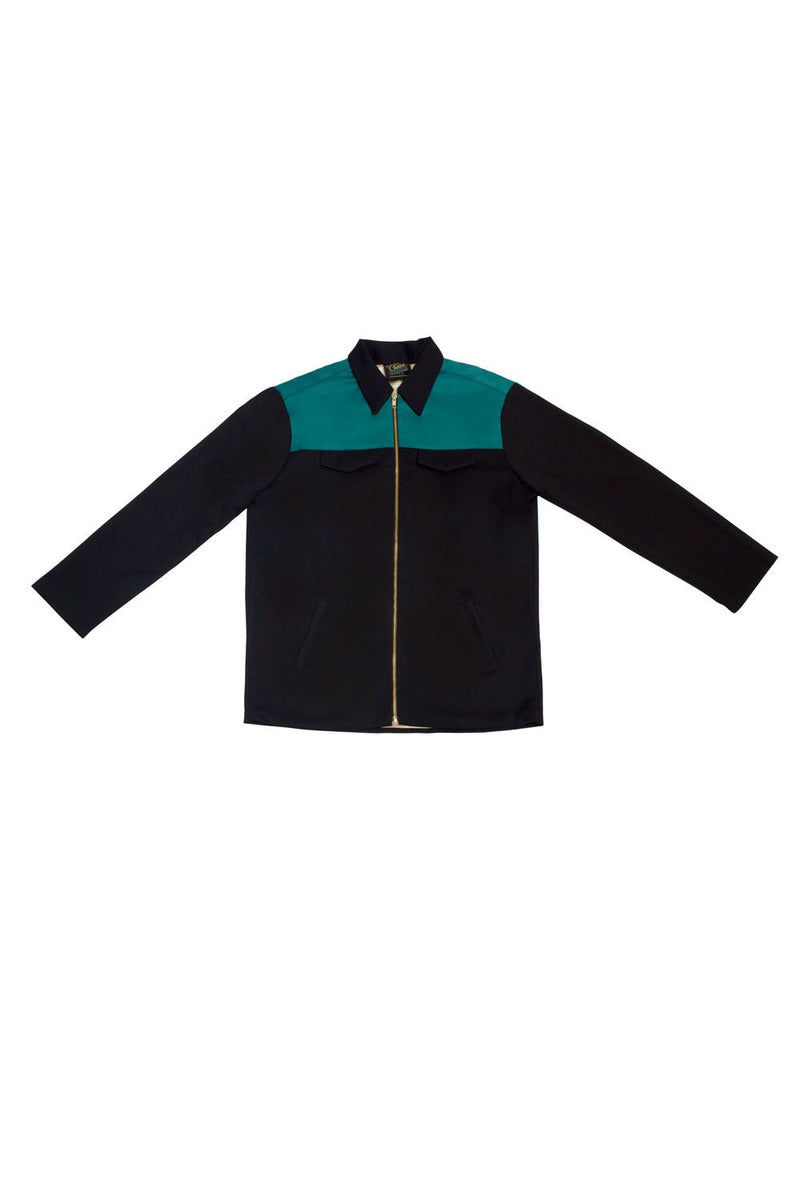 Charles Phoenix for Couture for Every Body Men's Fleetwood Jacket in Black with Teal Contrast
