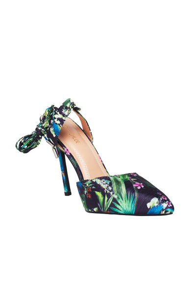 Tropical Tryst Tie Up Heel in Black Floral