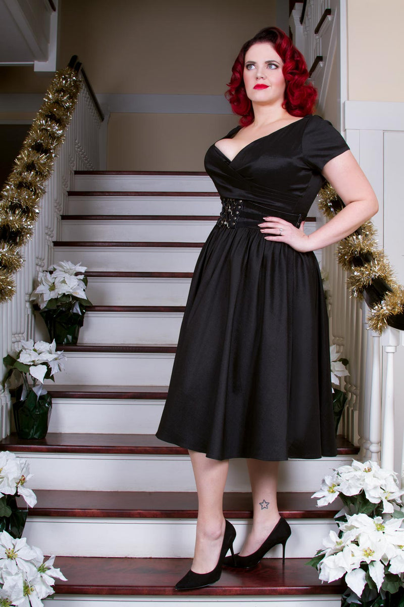 Pinup Couture Ava Swing Dress in Black Taffeta