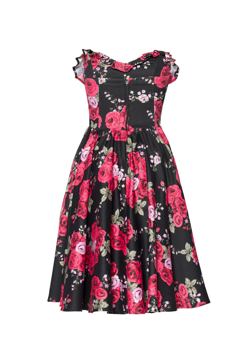 Pinup Couture Bela Dress in Red Rose Sateen