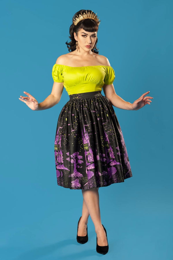 Pinup Couture Peasant Top in Lime Green Cotton Sateen