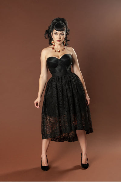 Pinup Couture High/Low Bella Skirt in Bisou Lace