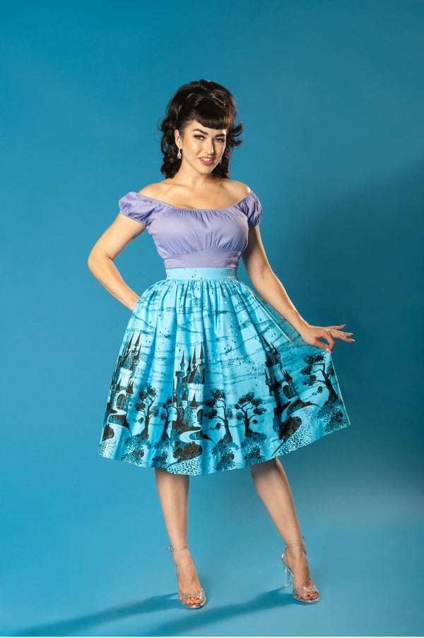 Pinup Couture Bella Skirt in Vintage Blue Castle Print