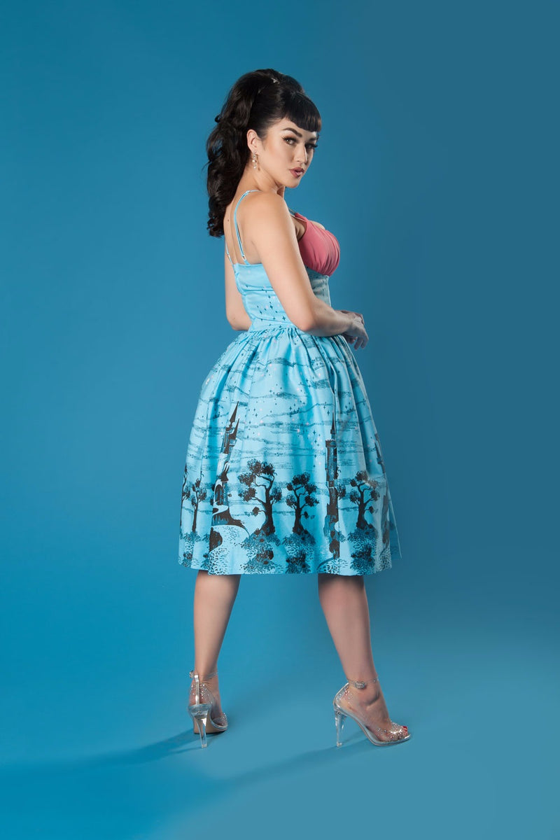Pinup Couture Holly Swing Dress in Blue Castle Printed Cotton Sateen