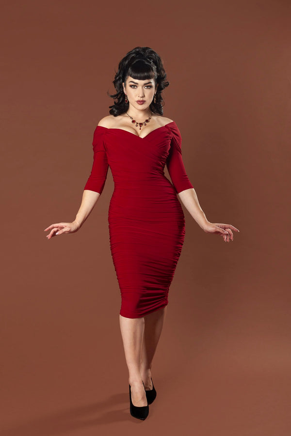 Laura Byrnes California Monica Wiggle Dress in Oxblood