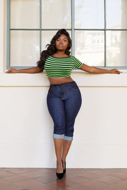 Deadly Dames Ashlee Top in Navy and Lime Stripe