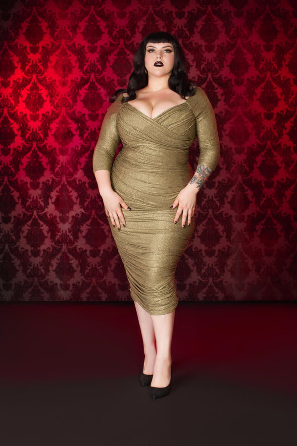 Laura Byrnes California Monica Wiggle Dress in Gold Lurex Plus Size