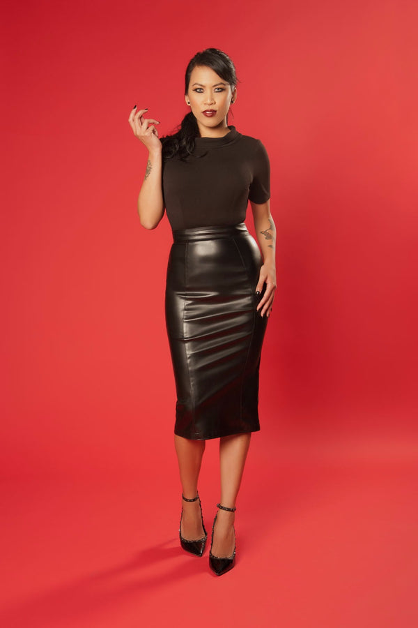 The Bad Girl Midi Pencil Skirt in Black Stretch Faux Leather | Deadly Dames Clothing