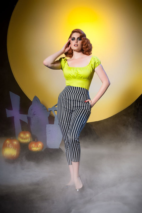 Laura Byrnes California High Waisted Cropped Trousers in Victorian Stripes