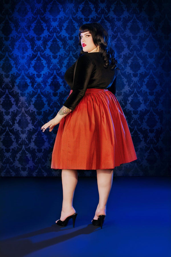 Pinup Couture Bella Skirt in Orange and Black Gingham Sateen