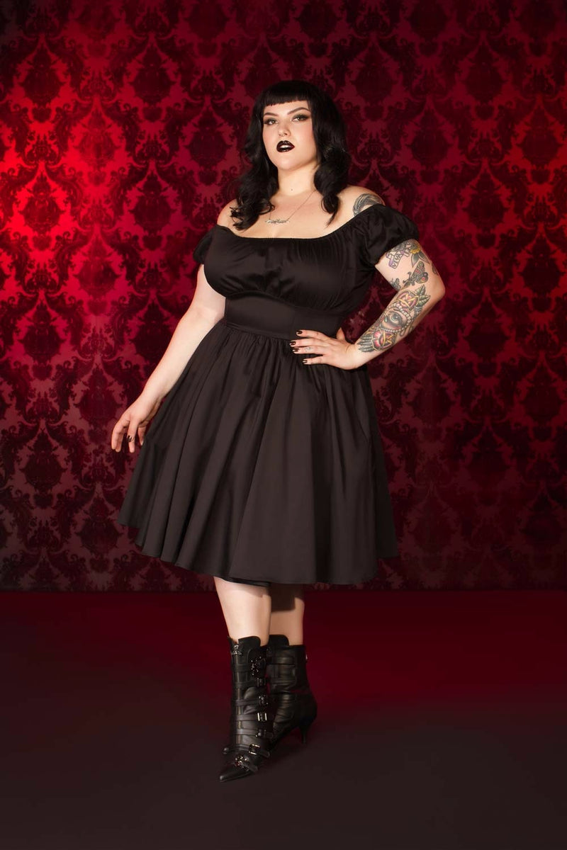 Pinup Couture Peasant Dress in Black