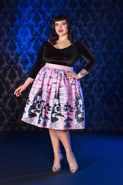 Pinup Couture Bella Skirt in Pink Castle Print