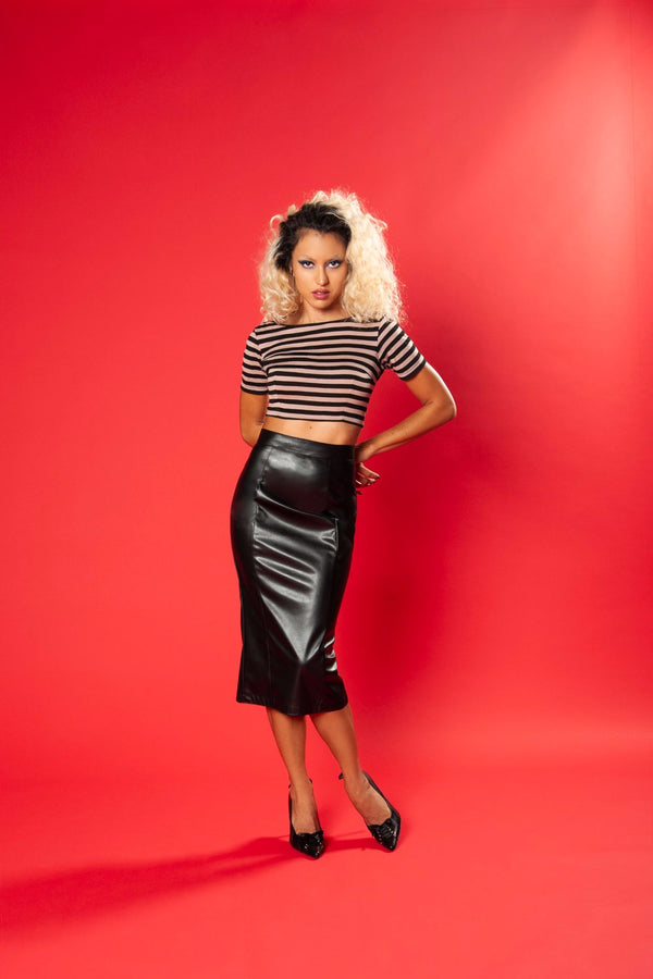 Deadly Dames Ashlee Top in Black and Mocha Stripe