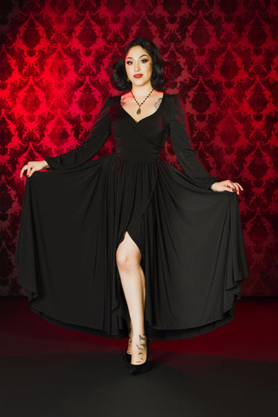 Robe Wrap Dress in Black ITY by Elvira for Couture for Every Body