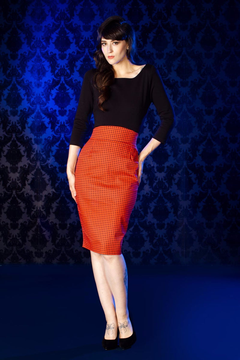 Laura Byrnes High Waisted Pencil Skirt in Orange and Black Gingham Print