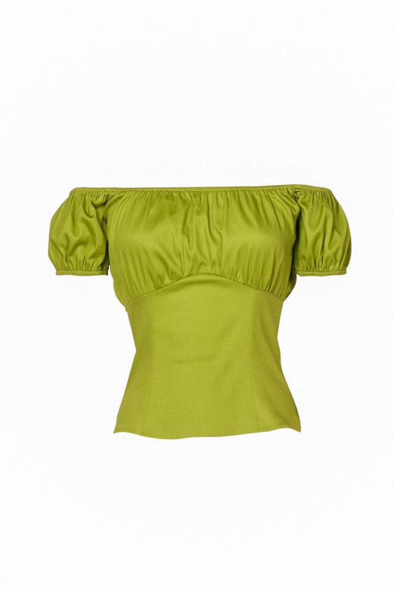 Pinup Couture Peasant Top in Olive Cotton Sateen